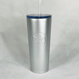 NWT Starbucks Metallic Silver Frosted SS Tumbler